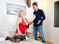 Big-boobed Sandy copulates a 28-year-old